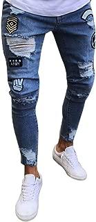 iZHH Men Slim Biker Zipper Denim Jeans Skinny Pants Distressed Rip Trousers