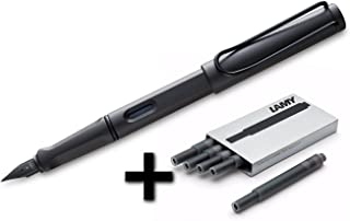 Lamy Safari Fountain Pen, Medium Nib + 5 Black Ink Cartridges (Matte Black)