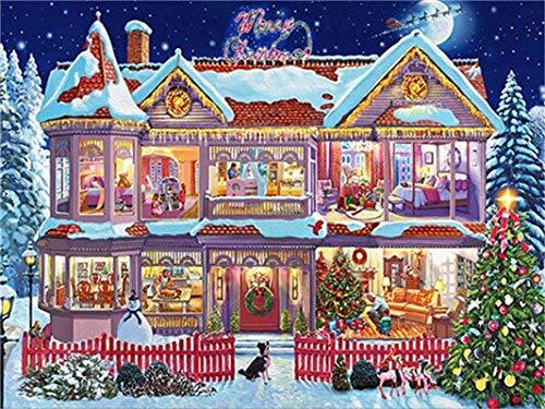 CDNY Navidad escénica-5D DIY Pintura Diamante-de Cristal, Bordado de Punto de Cruz, Lienzo-para Adultos Niños Decoración de la pared40x50cm