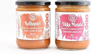 Kolhapuri & Tikka Masala|Vegan Indian Cooking Sauces 2-Pack|No Added Sugar;Certified Vegan|