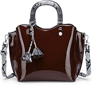 Wultia - Luxury Patent Leather Handbags 3PCS Lacquered Shoulder Crossbody Bag Casual Tote Messenger Bags Set Clutch Feminina #G8 Brown