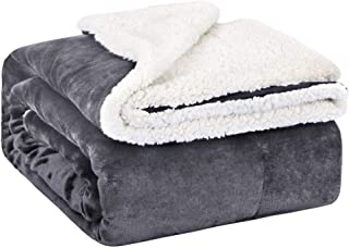 EMME Baby Blanket Fuzzy Sherpa Fleece Blankets Soft Warm Receiving Blankets for Toddler, Infant, Boys and Girls Gift Reversible Cozy Blanket for Crib, Stroller, Nap, Outdoor, Decor (Grey, 30