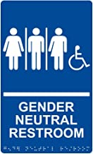 Gender Neutral Restroom Sign, ADA-Compliant Braille and Raised Letters, 11x6 inch Blue Acrylic with Adhesive Mounting Strips by ComplianceSigns