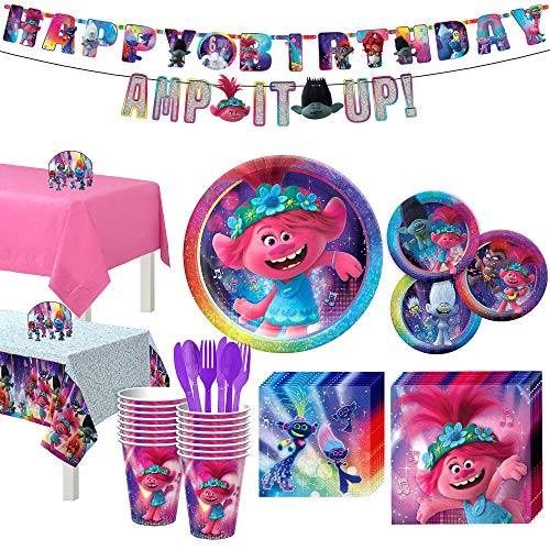 Party City Trolls World Tour Kids Birthday Party Supplies for 16 Guests, Poppy Branch Plates, Napkins, Cups, Decorations
