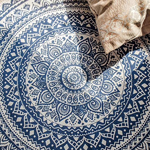 Concus-T Round Cotton Area Rugs 120cm Machine Washable Hand Woven Tassels Carpet Chic Bohemian Pattern Floor Mats for Bedroom Living Room Sofa Coffee Table Swing Chair Bed Side, Navy Blue