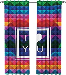 Vintage Rainbow, Curtains Thermal Insulated, Colorful Fractal Mosaic Backdrop with Heart and I Love You Frame Valentines, Curtains Kitchen Valance, W84 x L84 Inch, Multicolor