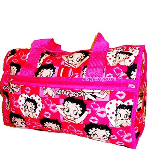 Betty Boop canvas Duffel 19' travel Bag Shoulder overnight handbag Pink