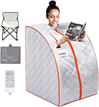 Audew Infrared Sauna PortableInfrared HomeSpa,OnePersonSauna,FoldableInfraredSaunaBlanketwith Carbon Fiber Heating Plate,Fire Cotton,FootPad,FoldableChair,RemoteControl,Feature-Rich