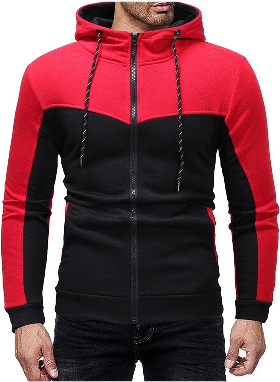 Hoodies for Men Cardigan Full Zip Fashion Mens Athletic Hoodies BlockColor Sport Sweatshirt Long Sleeve Pullover
