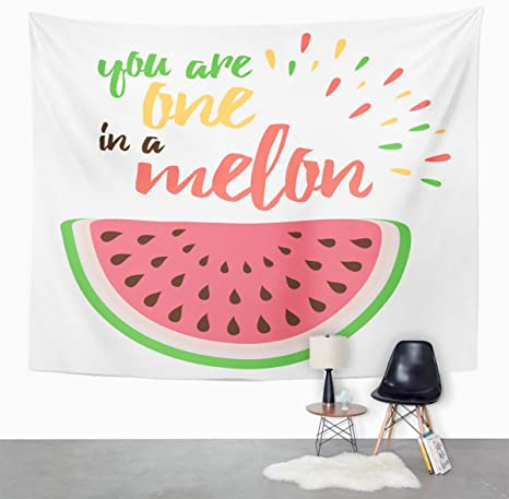 Amazon Com Emvency Tapestry Emotional Love With Watermelon Hand Writing You Are One In Melon Greeting Bright About Positive Home Decor Wall Hanging For Living Room Bedroom Dorm 60x80 Inches Home Kitchen