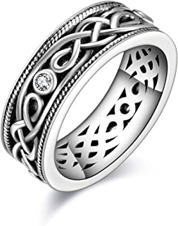 Unisex Celtic Knot Ring Vintage Tone Sterling Silver CZ Band Infinity Rings for Women Men