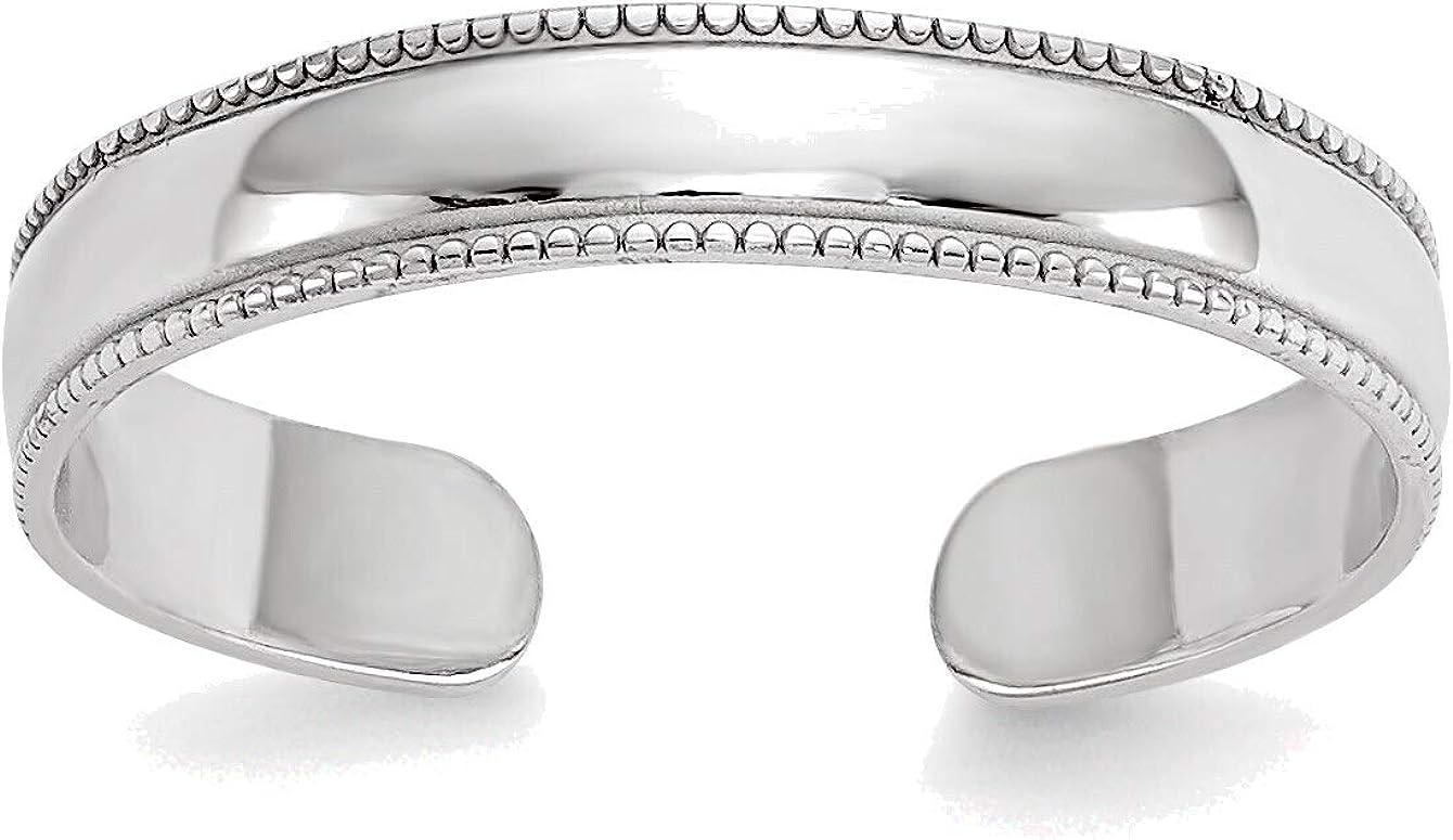 Bonyak Jewelry 14K White Gold Milgrain Adjustable Toe Ring in Size 11