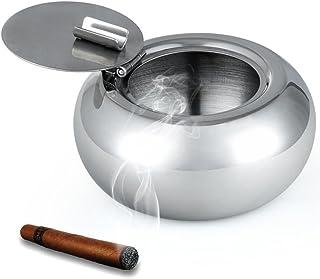 Posacenere per Sigarette con Coperchio Acciaio Inossidabile Portacenere Posacenere Antivento per Casa Ufficio Allaperto Interno con 3 Slot