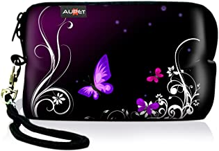 AUPET Purple Butterfly Digital Camera Case Bag Pouch Coin Purse with Strap for Sony Samsung Nikon Canon Kodak