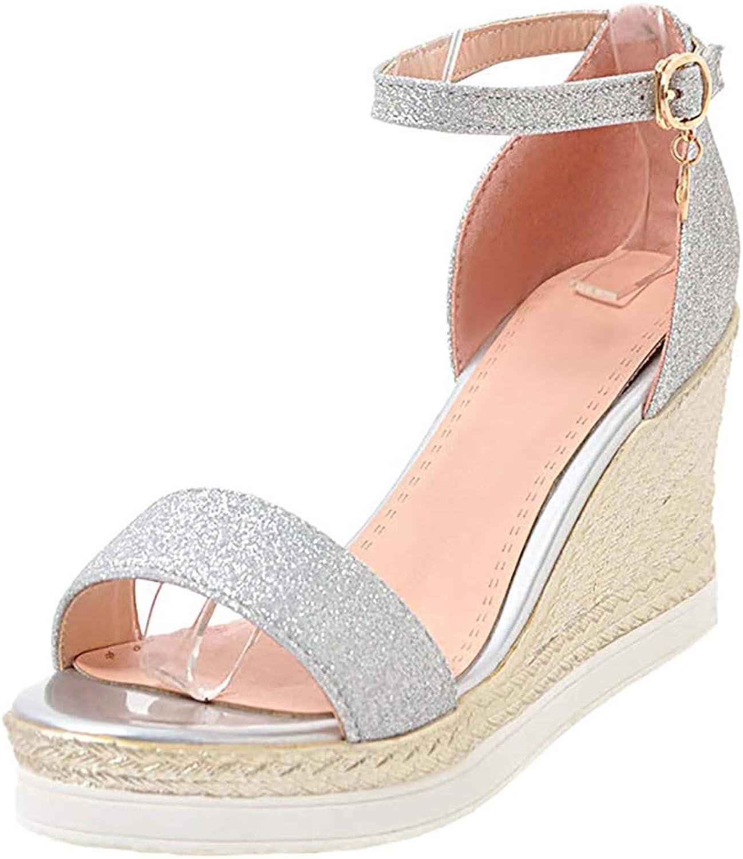 Lelehwhge Women's Elegant Glitter Sequins Buckle Open Toe Ankle Strap Wedges High Heel Pumps Sandals Black 8 M US
