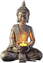 Fenteer Meditating Buddha Statues Home Decoration,Stone Buddha Tealight Holder for Home/Garden Buddha Decor, Antique - C