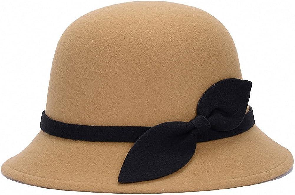 Tobe-U Cloche Bucket Bowler Fedora Floppy Derby Vintage Felt Hat Cap Women