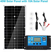 combnine Dual USB 40W Solar Panel Kit with 10/20/30/40A Solar Controller for Car Yacht RV Lamp Charging