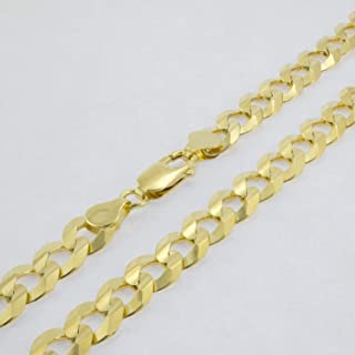 "Men's 10k Yellow Gold Solid 10mm Cuban Curb Chain Necklace, 24""- 30"""
