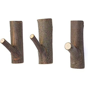 JUSTDOLIFE JUSTDOLIFE 3PCS Coat Hook Handmade Decorative Retro Wood Branch Wall Hook for Home Decor
