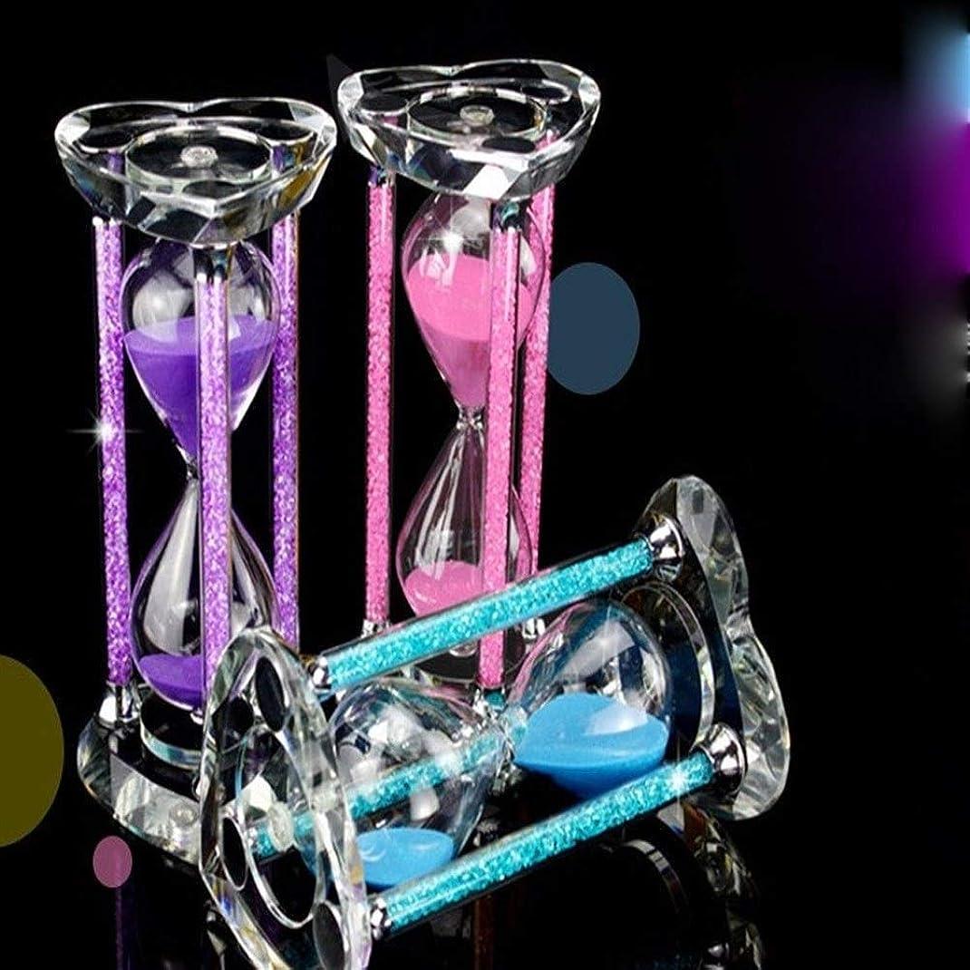 ボーカル敬意を表してパネルJIAYIZS 砂時計、ダイヤモンドクリスタル砂時計タイマー、明るいダイヤモンドの柱のデザイン、ハート型繊細なベース、そしてシック、利用可能な三色、時限30分の美しいです (Color : Purple, Size : 30 minutes)