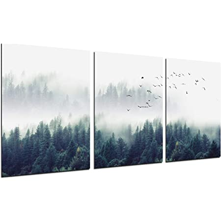 Foggy Forest Wall Art Painting 3 Piece Misty Mountain Trees Landscape Decor Flying Birds Nature Poster Modern Picture Canvas Print 12 X16 Home Office Kitchen Living Room Decoration Unframed Posters
