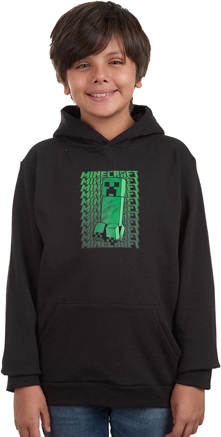 Minecraft Boys Creeper Black Long Sleeve Pullover Hoodie for Kids