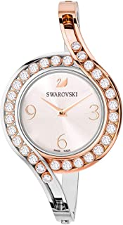 SWAROVSKI Crystal Authentic Lovely Crystals Bangle Watch, Metal Strap, White, Mixed Tone - Women's Elegant Swiss Made Timepiece - Classy Stone Studded Fashion Jewelry for Fancy and Casual Events
