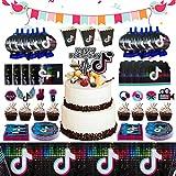 217pcs TIK Tok Décorations de fête Fournitures de fête d'anniversaire TIK Tok Toile de fond pour les filles Comprend des...