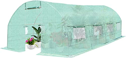 2021 Giantex Portable Walk in Greenhouse Plant Grow Tents Steel Frame high quality Garden Backyard Outdoor Gardening Green House popular w/ 8 Windows & Doors (10'X6.5'X20') online sale