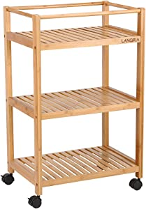 """LANGRIA 3 Tier Rolling Cart Bamboo Service Kitchen Cart Storage Shelf with Hooks and Lockable Wheels for Home Dinning Room Bathroom Organization (Load 11 lbs. Per Shelf) (18.5""""x13""""x29.5"""")"""