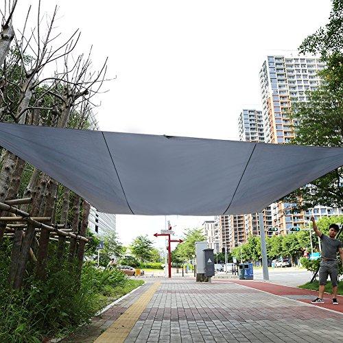 Yosoo Toldo de Vela de Sombra Rectangular para Jardín, Terraza, Calle y ExterioresResistente al Agua con Proteción UV, Bolsa de Transporte y Juego de Cuerdas Tensores (5×4,5 M, Gris)