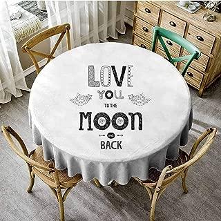 ScottDecor Love Jacquard Tablecloth Boho Hipster Valentines Sketch Art Style Phrase Stars Arrows Comets Vintage Design Print Round Tablecloth Black White Diameter 70