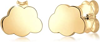 Elli Pendientes para niños con diseño de nube en cielo de ensueño en plata de ley 925 chapada en oro