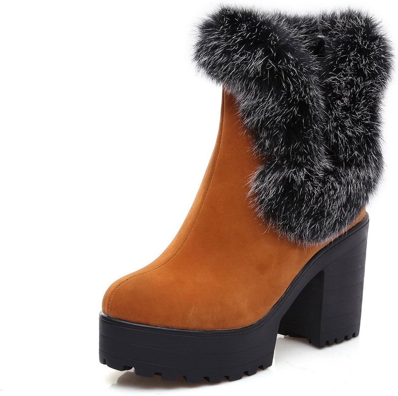 AdeeSu Ladies Chunky Heels Platform Fur Ornament Frosted Boots