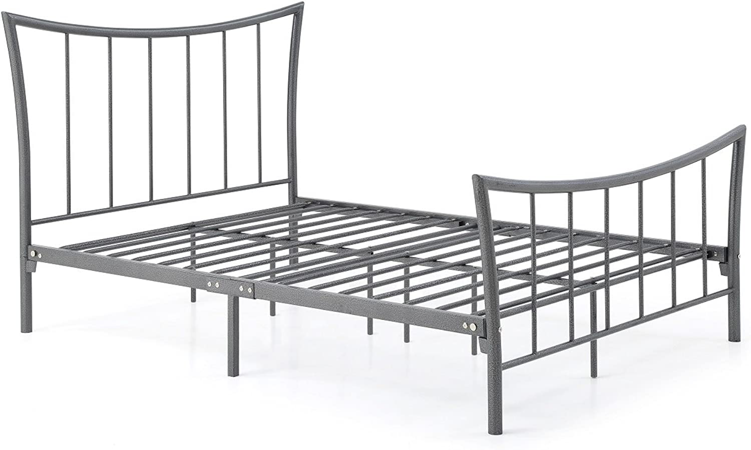 Hodedah HI920 T Charcoal Complete Metal Bed with Headboard, Footboard, Slats and Rails, Twin Size, Charcoal