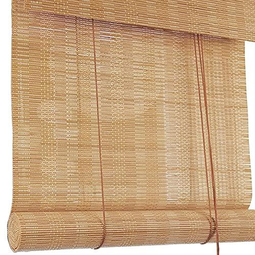 H.ZHOU Cortina de bambú Las Sombras del Exterior del Rollo Cortinas for Patio/toldo/Ventana de la Tapa, el 60% de la persiana del apagón con Tire de la Cuerda y la Cenefa, 60cm / 80cm / 100cm / 12