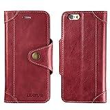 LENSUN Funda iPhone 6 / 6S con Tapa, Funda de Cuero Genuino Soporte Plegable Cartera para Tarjetas y...