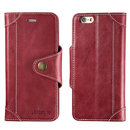 LENSUN Funda iPhone 6 / 6S con Tapa, Funda de Cuero Genuino Soporte Plegable Cartera para Tarjetas y Cierre Magnetico Protección Carcasa para Apple iPhone 6 / 6S 4,7'- Rojo Vino (6G-GT-WR)