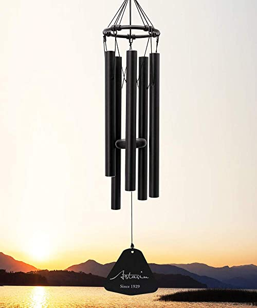 Wind Chimes Outdoor Deep Tone 30 Inches Amazing Grace Wind Chime With 5 Metal Tuned Tubes Black Elegant Memorial Wind Chimes For Friends Family Metal Wind Bell Chime For Home Garden