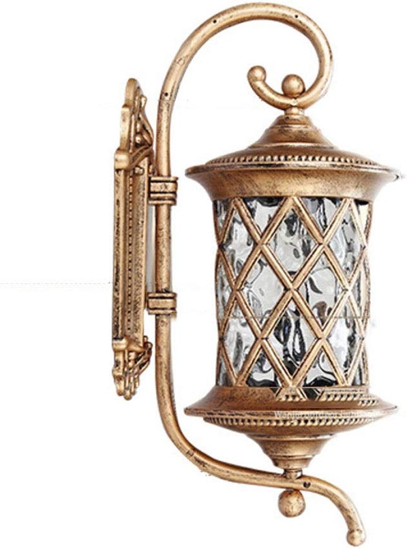 LCTCDY Auenwandleuchte unten Licht Eisen Metall Glas Edelstahl Retro Garten Licht-E27 Wasserdichte Montage (Farbe   Gold-A)