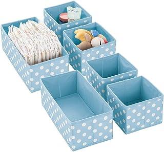 mDesign boîtes de Rangement (Set de 6) pour Chambre d'Enfants, Salle de Bain, etc. – Module de Rangement à Pois – 6 boîtes...