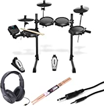Alesis Turbo Mesh 7 Piece Electronic Drum Kit With a Pair of Drum Sticks + Samson SR350 Headphones + Hosa 3.5 mm Interconnect Cable, 10 feet - Deluxe Accessory Bundle