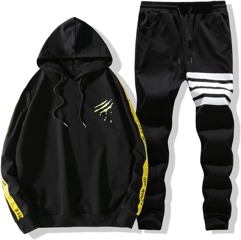 KMndik Mens Tracksuit Set Long Sleeve Hoodies Hip Hop Tops Shorts Suit Sports