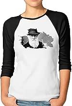 Women's Charles Robert Darwin Punk Rock Brado-01 3/4 Sleeve Raglan T Shirt Black