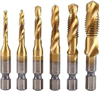 Zerone Thread Tap 12pcs M3-M10 Hex Shank Plated HSS Screw Thread Inch Tap Drill Bits