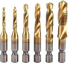 Juego de 6 hilos y rosca o hilo métrico M3-M10 con recubrimiento HSS de titanio para brocas y taladros de rosca de 1/4