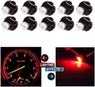 cciyu 10X 2835 SMD T3 Neo Wedge 8mm Red LED Bulb Cluster A/C Climate Control Instrument Panel Dash Lights Bulb