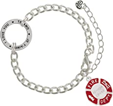 Delight Jewelry Always Loved Fire Department Shield I Love You in 3 Languages Affirmation Link Bracelet