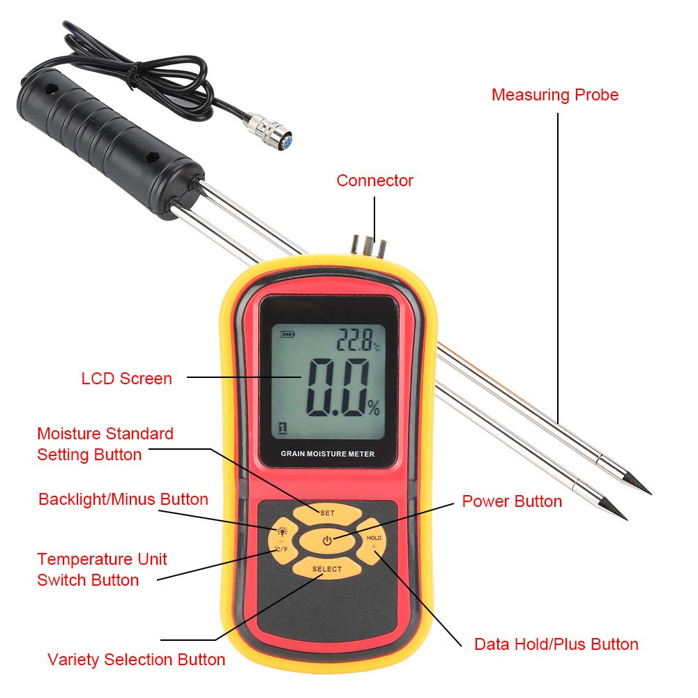Moisture Meter Temperature 5 ☆ very Max 43% OFF popular Accurate Probe Measuring for Wh